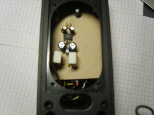 Нашёл в ящике микросхему TDA2822.  Полазил нашёл схему усилка и купив все недостающие елементы собрал...