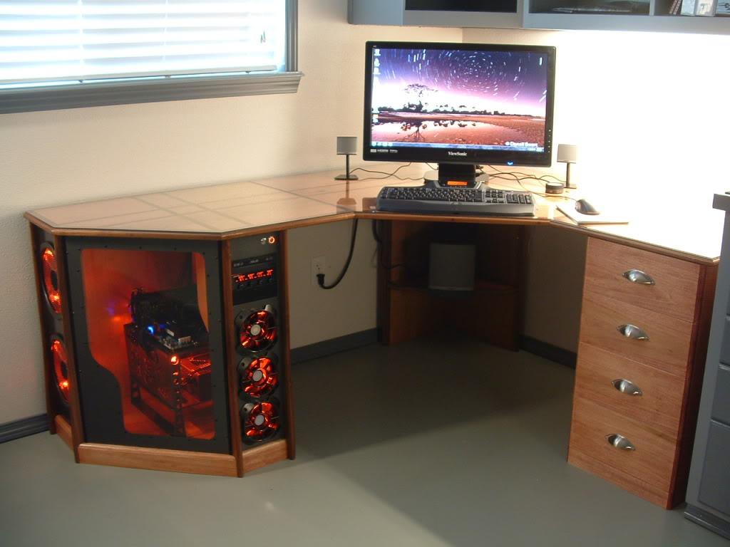 Как сделать в столе компьютер 63