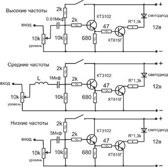 это схемка для светомузыки простой. в основе 3 фильтра нч вч и сч.
