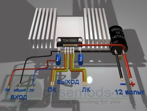 Усилитель мощности на микросхеме TDA1558Q.  Этот усилитель имеет выходную мощность 2 Х 22 ватта.