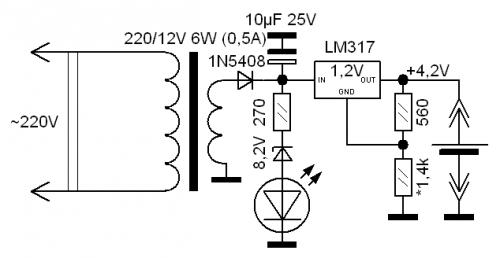 схема простого зарядного устройства для автомобильного аккумулятора.